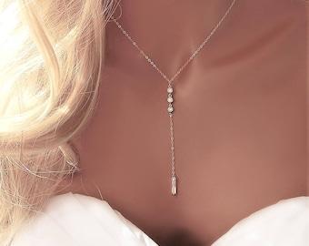 Silver CZ Lariat Wedding Necklace, Silver Diamond Y Necklace, Girlfriend Gift, Wedding Lariat Necklace, Minimal Necklace [508]