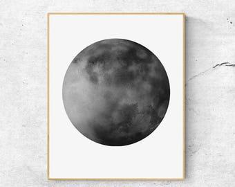 Watercolor Moon Print, Black Gray Moon Art, Full Moon Print, Moon Art Print, Watercolor Moon Poster, Celestial Print, Modern Wall Art
