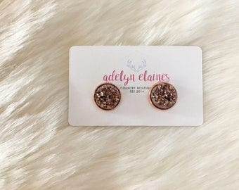 Rose Gold Druzy Earrings Studs 12 mm