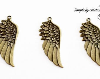 brass 56 mm x 21 mm Wing pendant charm