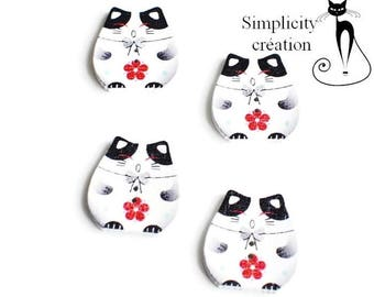 set of 4 buttons wood Kawaii red and black theme