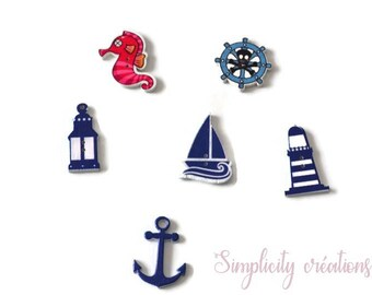 6 buttons wood sea theme