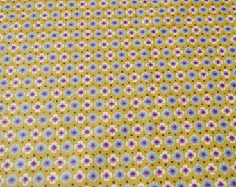cotton fabric 50 x 80 cm shades mustard, purple, turquoise