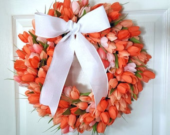 Tulip Wreath- Spring Wreath- Mother's Day Wreath- Gift for Mom- Mother's Day Gift- Shabby Chic Decor