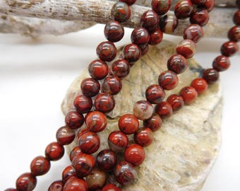 6mm red Jasper beads / round bead / stone /gemme red / natural beads / jewelry making / red gem