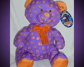 Halloween Teddy Bear Stuffed Animal Jack-O-Lantern Pattern 1990s