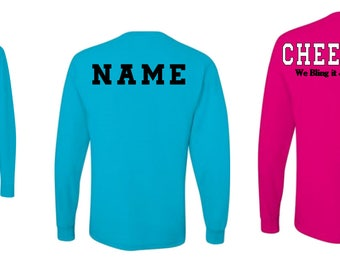 Cheerleading long sleeve shirt // personalized long sleeve // cheer dad shirt // Mom Cheer shirt // cheer gifts // Team gifts //