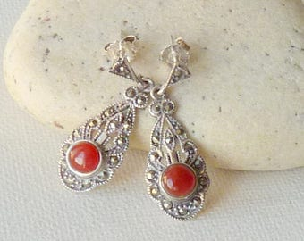 Sterling Silver Carnelian Marcasite Dangle earrings Art Deco Carnelian Pierced Earrings, Carnelian Stud Carnelian Jewelry 925 Marcasite