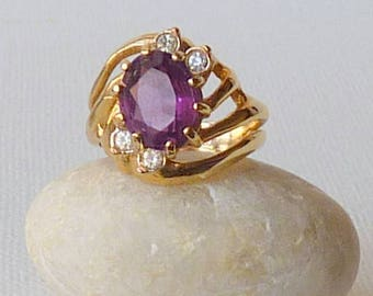 Vintage Amethyst Ring, 18kt Gold Electroplate Faux Amethyst Ring, Vintage Statement 18k Ring, Coctail Ring, Retro Size 5.5, Dainty Ring