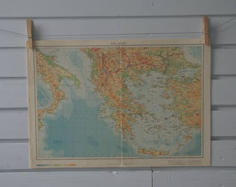 1961 Vintage Map of Greece