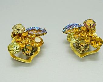 Rhinestone Earrings Vintage Jewelry Fashion Jewelry Vintage Clip On Earrings