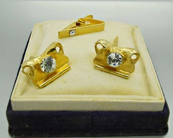 Swank Cuff Links and Tie Clip Vintage Accessory Vintage Jewelry