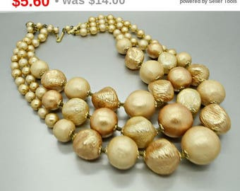 Vintage Ivory Triple Strand Bead Necklace