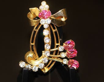 "Vintage Brooch Pin Sparkling Watermelon Pink and Ice Rhinestones in the shape of Initial ""J"" Gold Tone Open Work Small Bow Old World Charm"