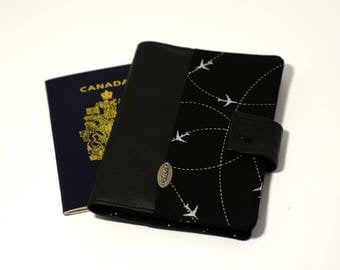 ANTI RFID protection | Passport holder | Passport cover for travel | plane black and grey | 2 passports + card