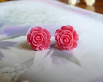 Pink resin rose Stud Earrings