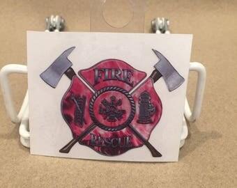 Fire Rescue Die Cut Decal