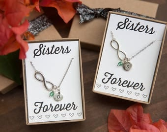 Sister Infinity Necklaces, Personalized Necklace, Sisters Forever, Initial Necklace, Silver Infinity Necklace, Set of 2, Sisters Necklaces