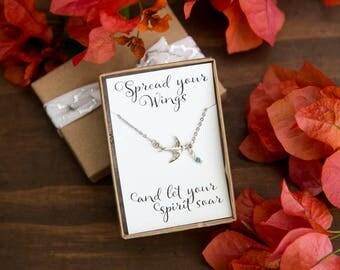 Bird Necklace, Swallow Necklace, Sparrow Charm, Sparrow Pendant, Dainty Bird Necklace, Chic Sparrow, Swooping Sparow, Silver Bird Jewelry