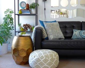 "Round floor cushion cover floor pouf ottoman is 18"" diam., stands 11"" tall. Cream & greenish-grey colours, diamond pattern, twill fabric."