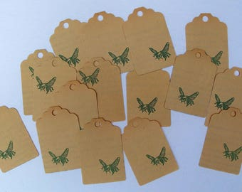 vintage ephemera tag punches, vintage Green Hornet tags, vintage mixed media supply tags, bumble bee tags