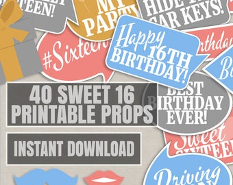 40 Sweet Sixteen photo booth props, 16th selfie props, photobooth selfies, speech bubbles, colorful birthday props, sixteenth birthday party