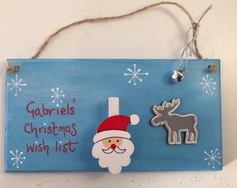 Child's Christmas wish list plaque