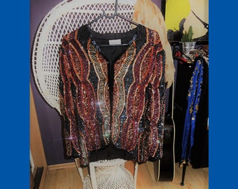 Multicolor Sequin Beaded Frank Usher Jacket