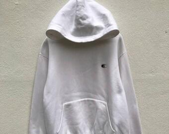 20% OFF Vintage Champion C Logo Hoodie  / Champion Sweater / Streetwear / Champion Big Logo / White Sweatshirt / Sportwear
