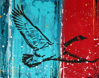 Flying goose mixed media wall art painting on canvas by my artist
