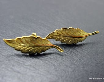 Gold leaf earrings leaf earrings