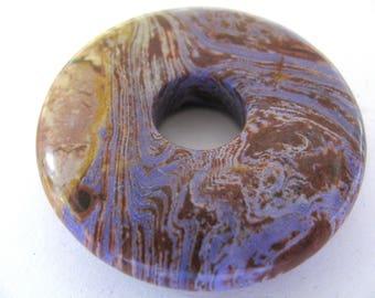 Pendant, Impression Jasper, donut pendant, 45mm, 12mm hole, lavender, tan, Jewelry supply B-1851