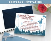 """Editable Invitations for """"Personal Progress Helps You to Become Practically Perfect"""" New Beginnings Young Women in Excellence Mary Poppins"""