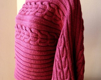 Sweater 40/42, fall / winter, kimono, wide cables, raspberry, 3/4 sleeves, collar