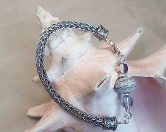 Sterling Silver, Viking Knit Bracelet with Sandstone Bead