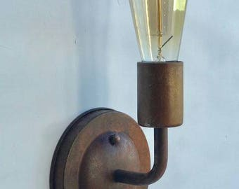 Rusty Round Sconce