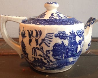 Antique House of Blue Willow Teapot