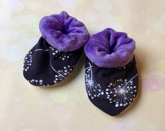 Soft Sole 0-6 Month Baby Booties in Dandelions with Purple Minky Lining Baby Girl