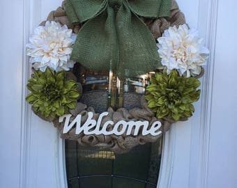 Welcome burlap floral wreath