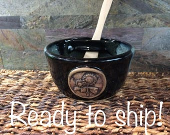 READY TO SHIP! Sunflower Dip Bowl, Dip Bowl Set, Dip Serving Bowl with Wooden Spreader Glazed in Night on the Lake