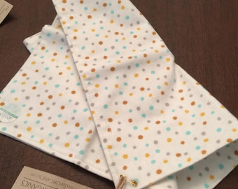 Burp Cloths - Oversized Absorbent Flannel Burp Cloth - Organic Cotton Baby Double Thick Flannel Teal/Gold Confetti Dots