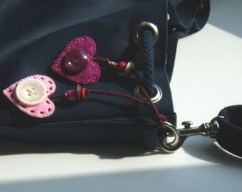 Duet of hearts pink and purple jewelry bag