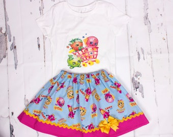 Shopkings girl outfit, Girl skirt, Girl outfit, girl birthday outfit  Girl clothes  baby outfit Toddle  outfit  Heat Transfer Design