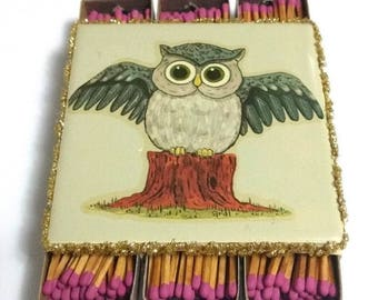 """Vintage Ceramic Owl Tile Match Box Holder 6 Boxes of Wood Strike Matches ~ Measures 4 1/4"""" Square x 1 1/4"""" Tall"""