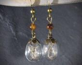 Terrarium fairy - earrings drops jewelry birthday poetic jewelry - cabinet of curiosities - bronze - loblada creation