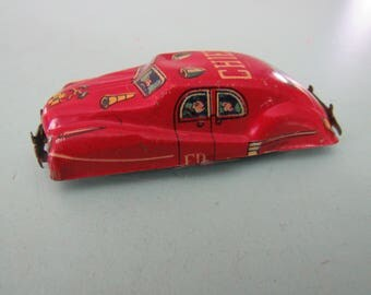 Vintage Tin Litho Fire Chief Car Japan Free Shipping