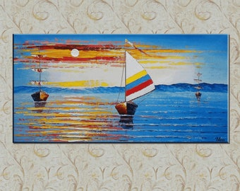 Original Painting, Abstract Painting, Oil Painting, Canvas Painting, Sail Boat Painting, Abstract Wall Art, Wall Art, Landscape Painting
