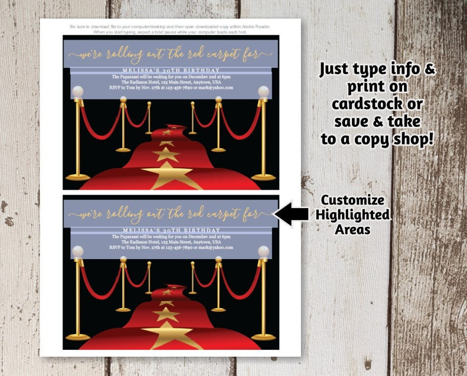Printable Red Carpet Invitation Template - Hollywood Theme Party ...