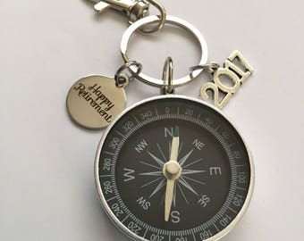 compass keychain-retirement compass keychain-the best is yet to come compass keychain