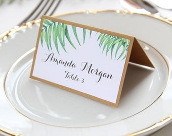 Greenery Place Cards, Palm Place Cards, Tropical Place Cards, Rustic Place Cards, Palm Leaf Place Cards, Tent Place Cards